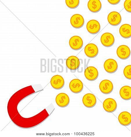 Magnet attracting coins