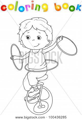 A Boy Rides A Bicycle And Juggling