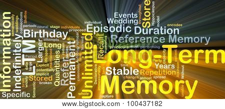 Background concept wordcloud illustration of long-term memory LTM glowing light