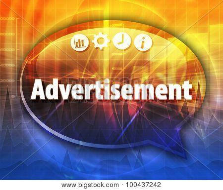 Speech bubble dialog illustration of business term saying Advertisement