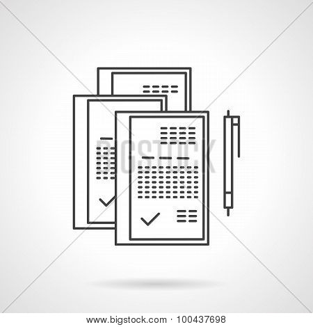 Signed documents line vector icon
