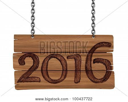Wooden Blackboard with 2016  (clipping path included)