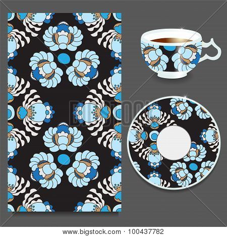 stock vector  floral russian seamless pattern