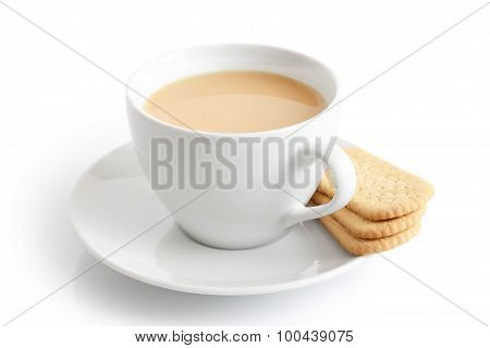 White Ceramic Cup And Saucer With Tea And Finger Biscuits. Isolated.
