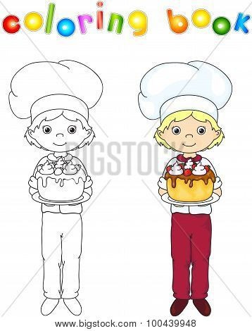 Cook Or Waiter In Their Uniform With Sweet Birthday Cake. Coloring Book. Game For Children