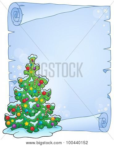 Parchment with Christmas tree topic 5 - eps10 vector illustration.