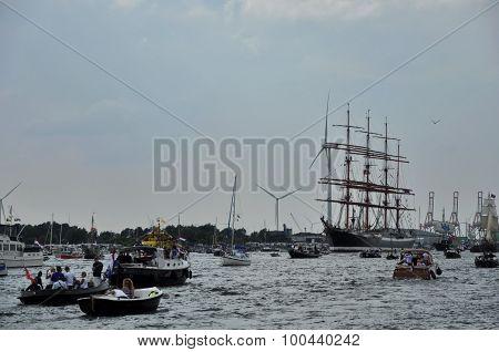 The Sedov Tall Ship Among Spectators