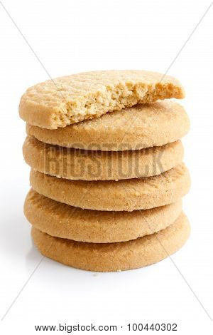 Stack Of Round Shortbread Biscuits Isolated On White. Half Biscuit.