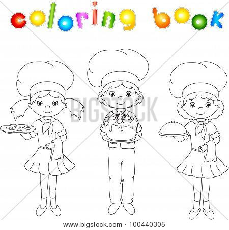 Cook, Waiter, Confectioner In Their Uniform. Coloring Book