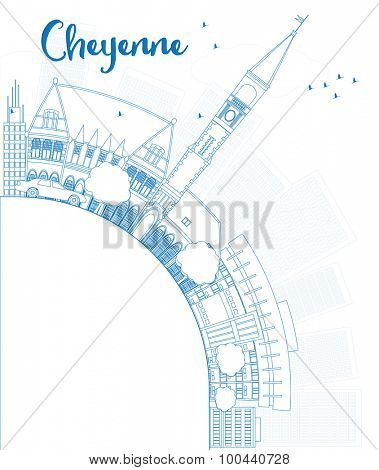 Outline Cheyenne (Wyoming) Skyline with Blue Buildings and copy space. Vector Illustration