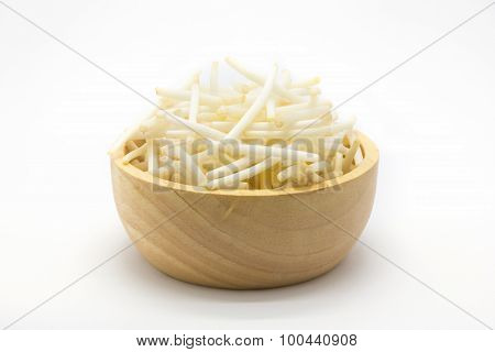 Cutting bean sprouts on wooden bowl, white background
