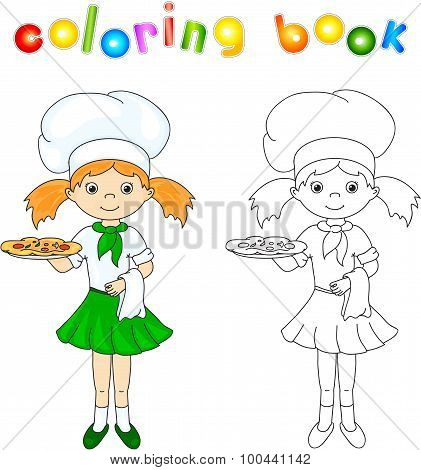 Cook Or Waiter In Her Green Uniform With Pizza. Coloring Book