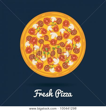 Fresh salami pizza.  Flat style vector illustration of healthy pizza.
