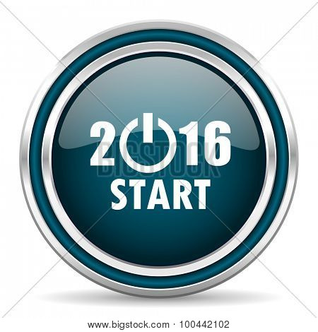 year 2016 blue glossy web icon with double chrome border on white background with shadow