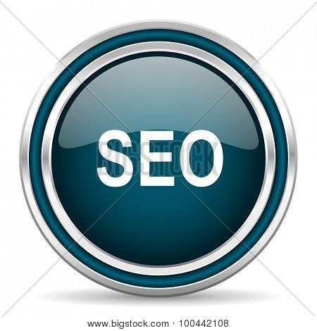 seo blue glossy web icon with double chrome border on white background with shadow