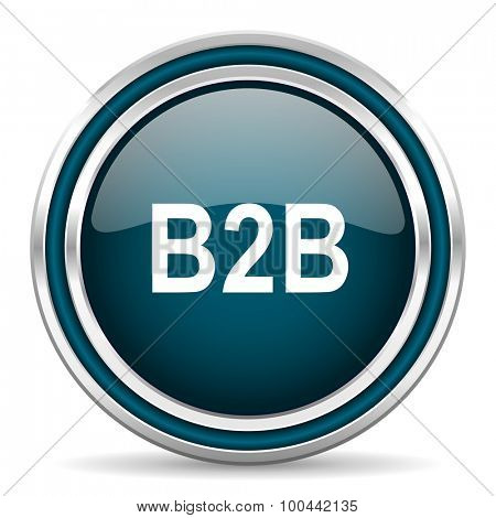 b2b blue glossy web icon with double chrome border on white background with shadow