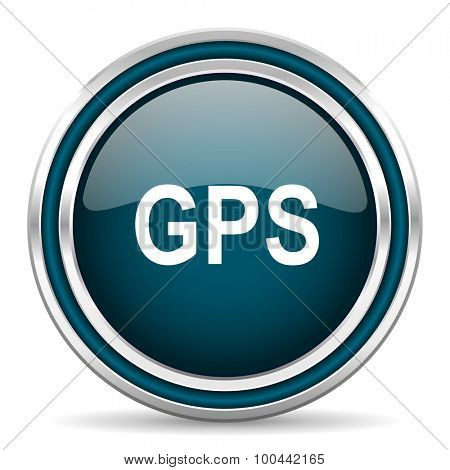 gps blue glossy web icon with double chrome border on white background with shadow