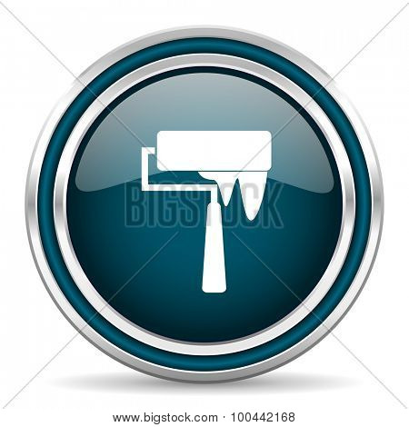 brush blue glossy web icon with double chrome border on white background with shadow