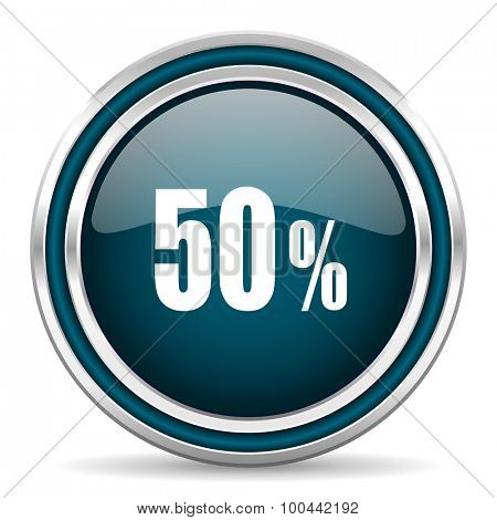 50 percent blue glossy web icon with double chrome border on white background with shadow