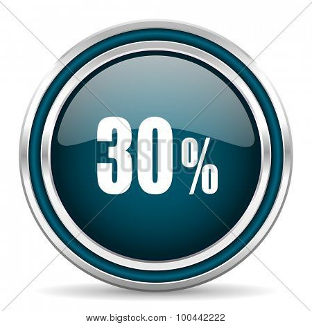30 percent blue glossy web icon with double chrome border on white background with shadow