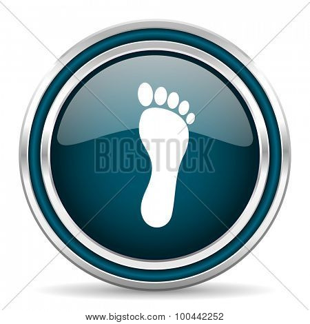 foot blue glossy web icon  with double chrome border on white background with shadow