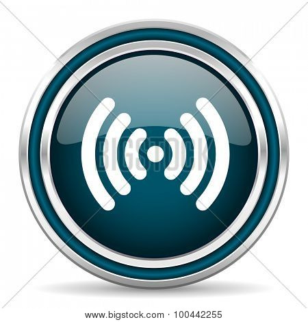 wifi blue glossy web icon with double chrome border on white background with shadow