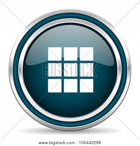 thumbnails grid blue glossy web icon with double chrome border on white background with shadow