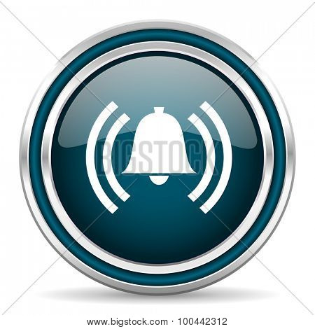 alarm blue glossy web icon with double chrome border on white background with shadow