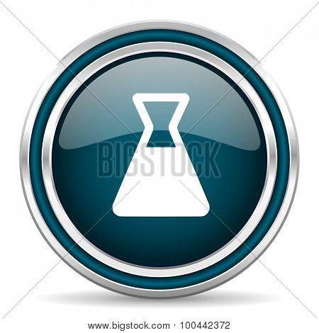 laboratory blue glossy web icon with double chrome border on white background with shadow