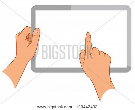 Hand Holding A Touchpad Pc