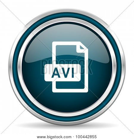 avi file blue glossy web icon  with double chrome border on white background with shadow
