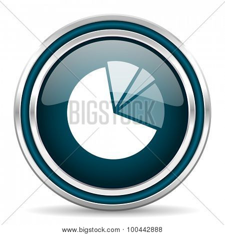 diagram blue glossy web icon with double chrome border on white background with shadow
