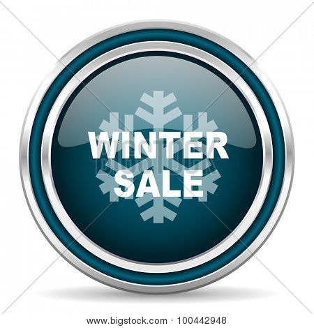 winter sale blue glossy web icon with double chrome border on white background with shadow