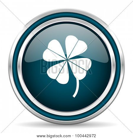 four-leaf clover blue glossy web icon with double chrome border on white background with shadow