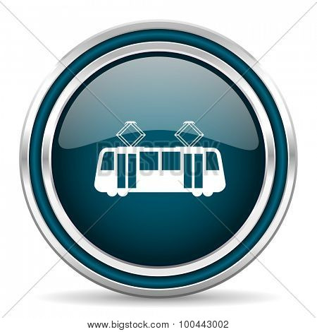 tram blue glossy web icon with double chrome border on white background with shadow