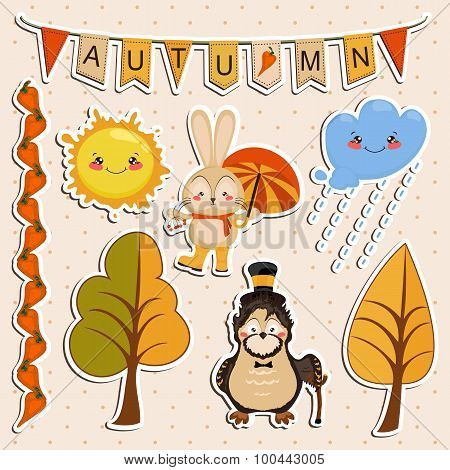 Vector illustration, rabbit in rubber boots walking rain with umbrella