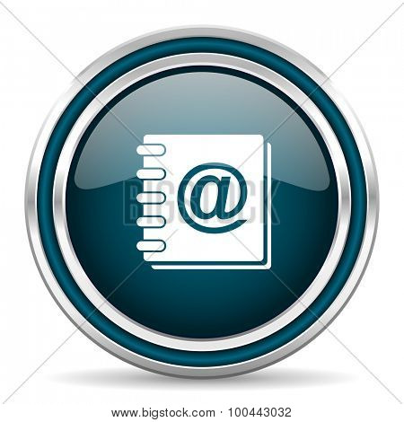 address book blue glossy web icon with double chrome border on white background with shadow