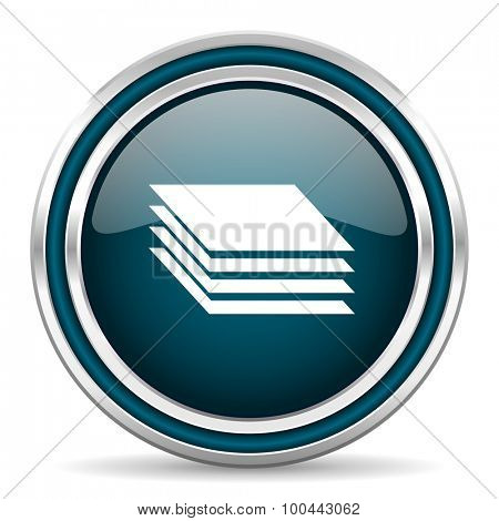 layers blue glossy web icon with double chrome border on white background with shadow