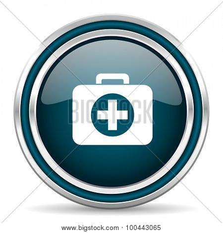 first aid blue glossy web icon with double chrome border on white background with shadow