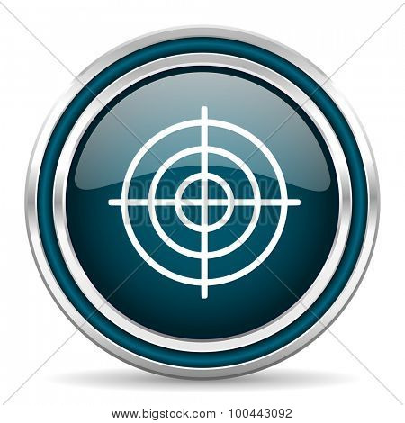 target blue glossy web icon with double chrome border on white background with shadow