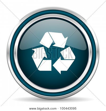 recycle blue glossy web icon with double chrome border on white background with shadow