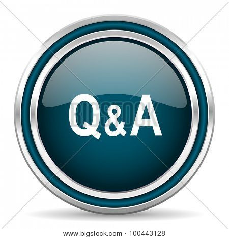 question answer blue glossy web icon with double chrome border on white background with shadow