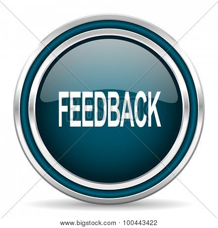 feedback blue glossy web icon with double chrome border on white background with shadow
