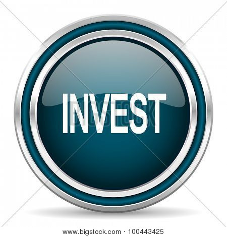 invest blue glossy web icon with double chrome border on white background with shadow
