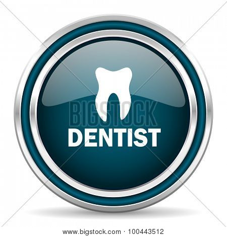 dentist blue glossy web icon with double chrome border on white background with shadow