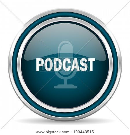 podcast blue glossy web icon with double chrome border on white background with shadow