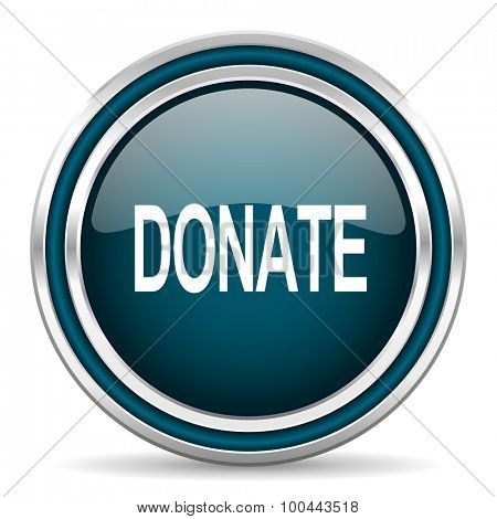 donate blue glossy web icon with double chrome border on white background with shadow