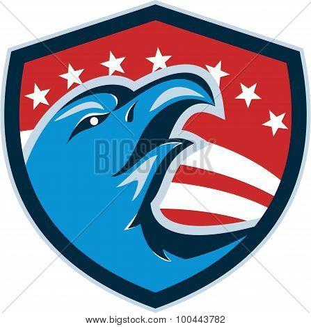 Bald Eagle Head American Stars And Stripes Shield Retro