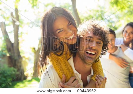 Portrait of a happy friends having fun outdoors