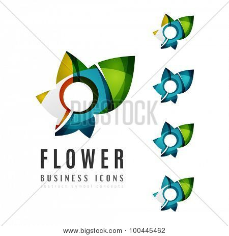 Set of abstract flower logo business icons. Created with overlapping colorful abstract waves and swirl shapes